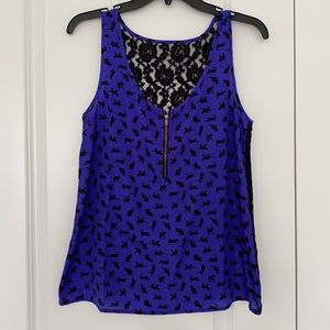Lace back tank top with cats